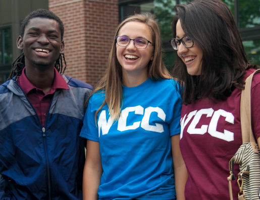 Students wear official Whatcom Community College T-shirts and jacket