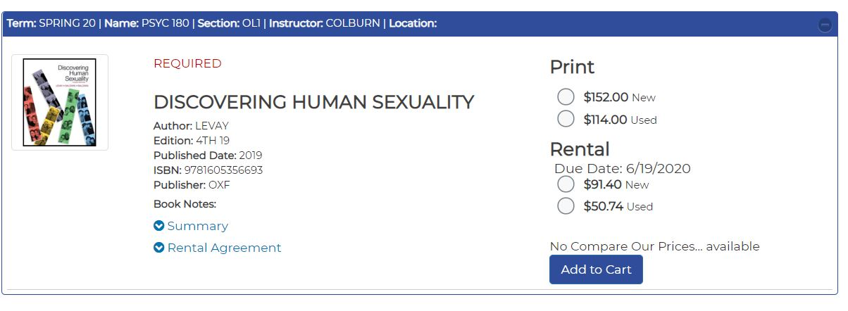 Example of rental book option: Discovering Human Sexuality